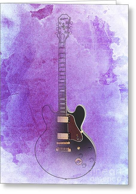 Gibson Lucille Guitar, Purple Background Greeting Card by Pablo Franchi
