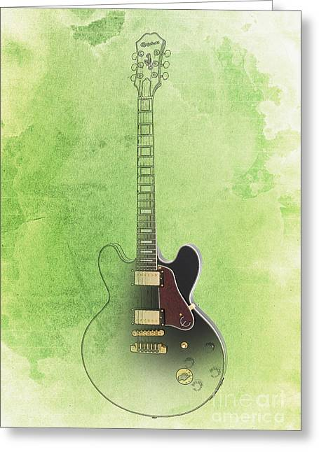 Gibson Lucille Guitar Vintage Background Greeting Card by Pablo Franchi