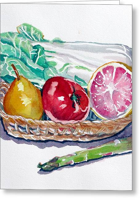 Gift Basket Greeting Card by Jan Bennicoff