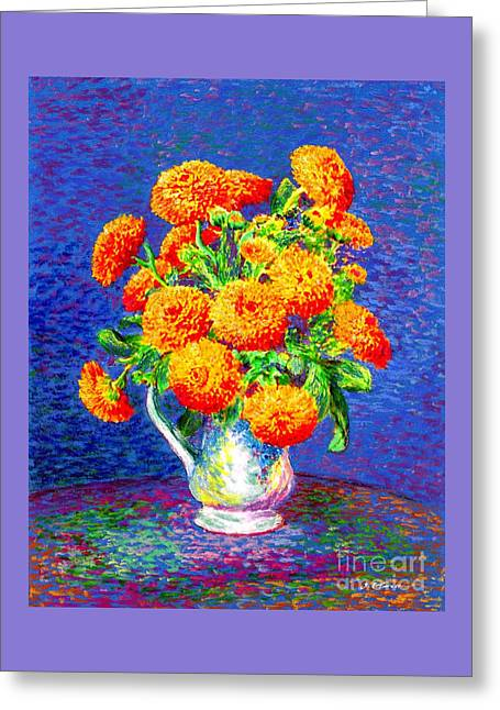 Greeting Card featuring the painting Gift Of Gold, Orange Flowers by Jane Small