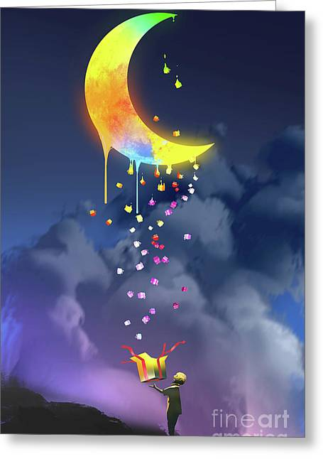 Greeting Card featuring the painting Gifts From The Moon by Tithi Luadthong