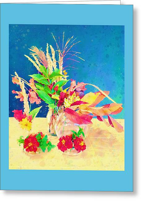 Greeting Card featuring the digital art Gifts From The Yard Watercolor by Christina Lihani