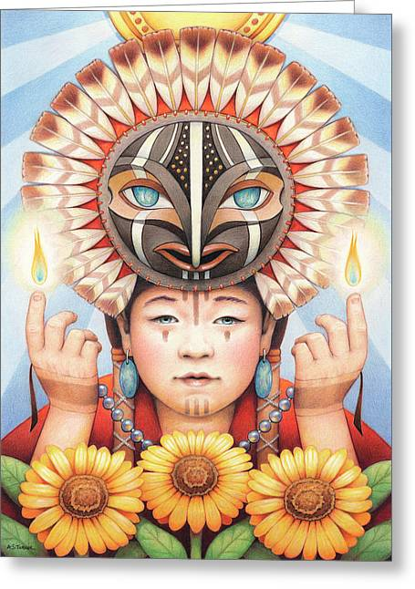 Gifts Of The Sun Spirit Greeting Card by Amy S Turner