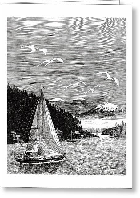 Gig Harbor Sailing School Greeting Card by Jack Pumphrey