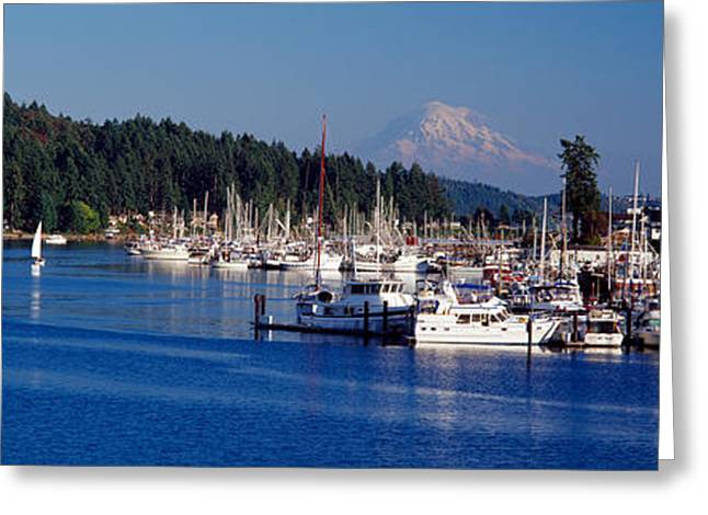 Gig Harbor With Mt Rainier Greeting Card by Panoramic Images