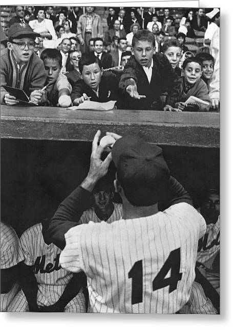 Gil Hodges Baseball Fans Greeting Card by Underwood Archives
