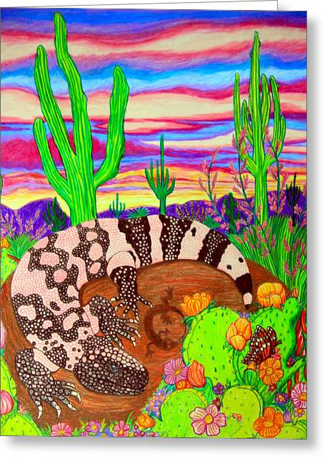 Gila Monster In Desert Greeting Card by Nick Gustafson