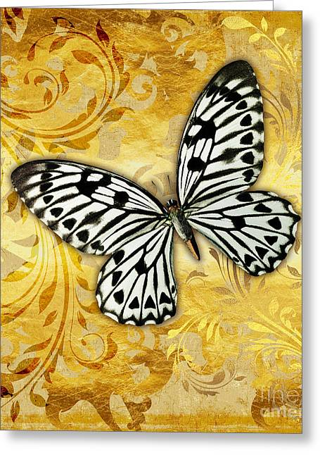 Gilded Garden A Butterfly Amidst Golden Floral Shapes Greeting Card by Tina Lavoie