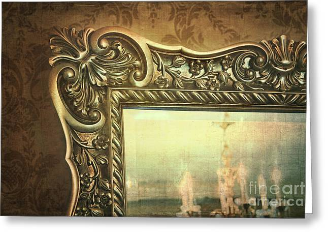 Gilded Mirror Reflection Of Chandelier Greeting Card by Sandra Cunningham