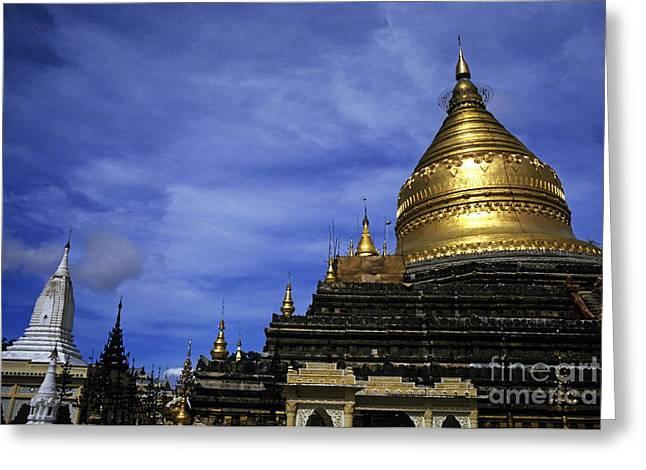 Gilded Stupa Of The Shwezigon Pagoda In Bagan Greeting Card by Sami Sarkis