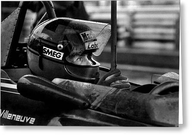 Canadian Grand Prix Greeting Cards - Gilles Villeneuve 1950-1982 Greeting Card by Mike Flynn