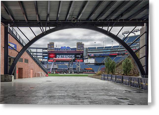 Gillette Stadium And The Four Super Bowl Banners Greeting Card