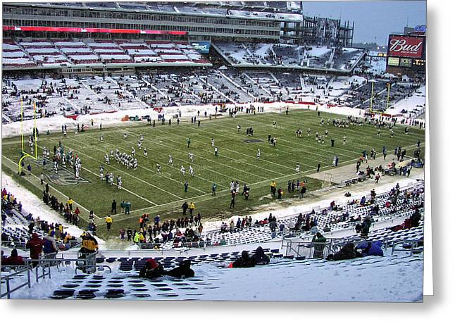 Gillette Stadium Snow Bowl Greeting Card by Mike Martin