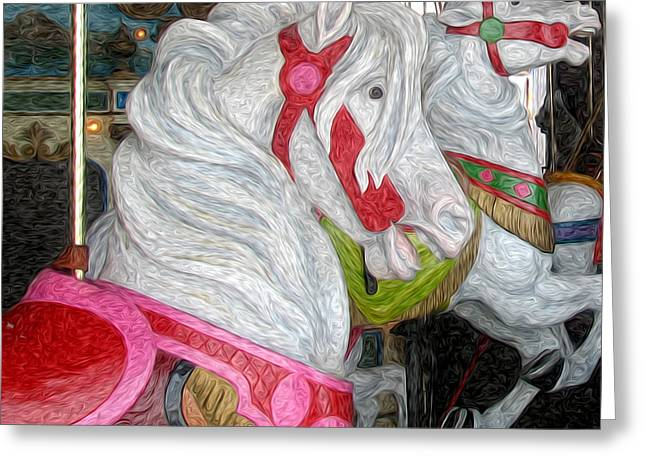 Gillians Carousel Horse Greeting Card by Kevin  Sherf