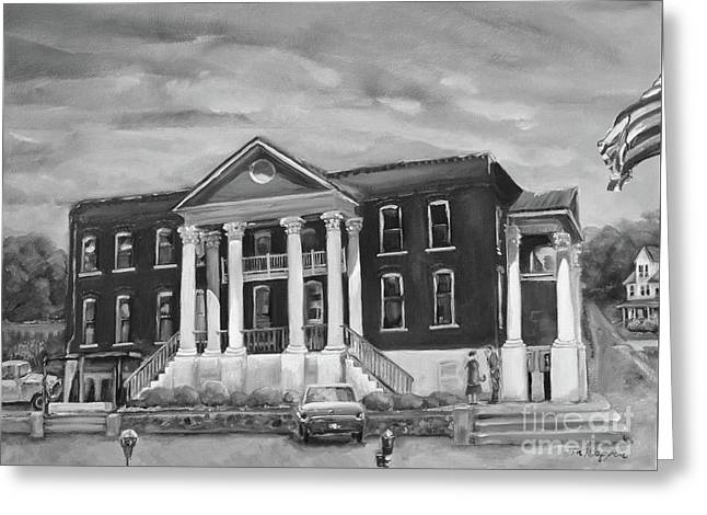 Gilmer County Old Courthouse - Black And White Greeting Card