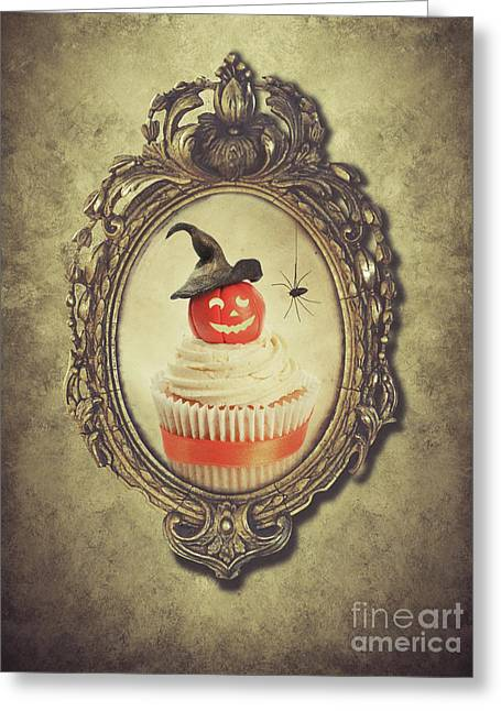 Gilt Frame With Halloween Cupcake Greeting Card by Amanda Elwell