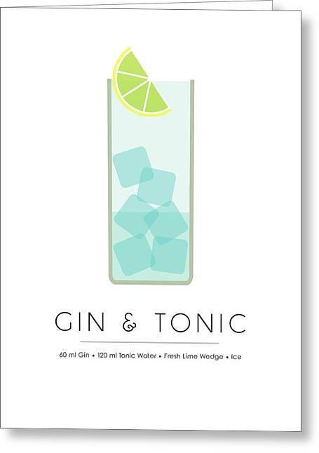 Gin And Tonic Classic Cocktail - Minimalist Print Greeting Card