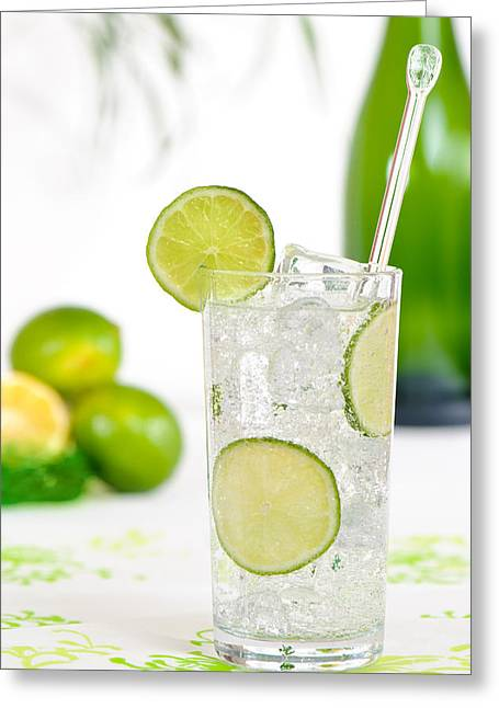 Gin And Tonic Drink Greeting Card by Amanda Elwell