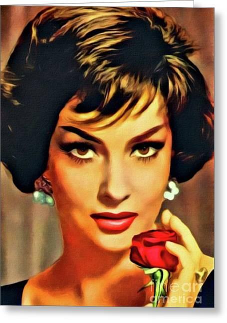 Gina Lollobrigida, Vintage Hollywood Actress. Digital Art By Mb Greeting Card by Mary Bassett