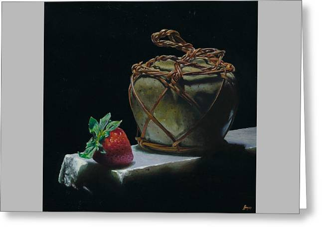 Ginger Jar And Strawberry Greeting Card by Jeffrey Hayes