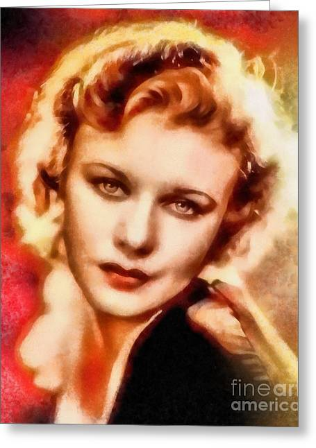 Ginger Rogers, Vintage Hollywood Legend Greeting Card by Frank Falcon