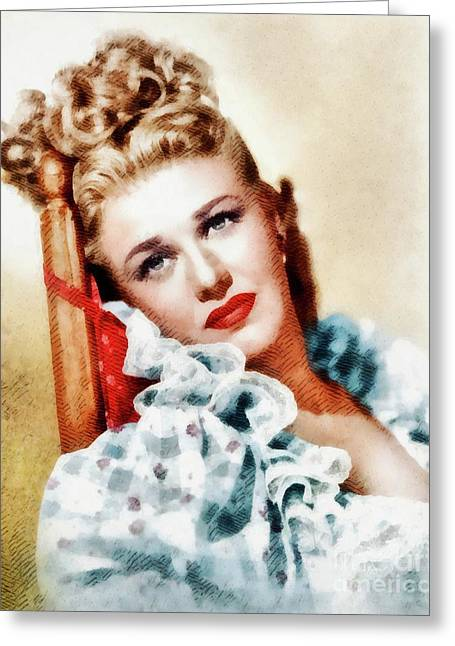 Ginger Rogers, Vintage Hollywood Legend Greeting Card by John Springfield
