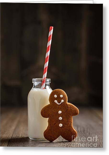 Gingerbread Man With Milk Greeting Card by Amanda Elwell