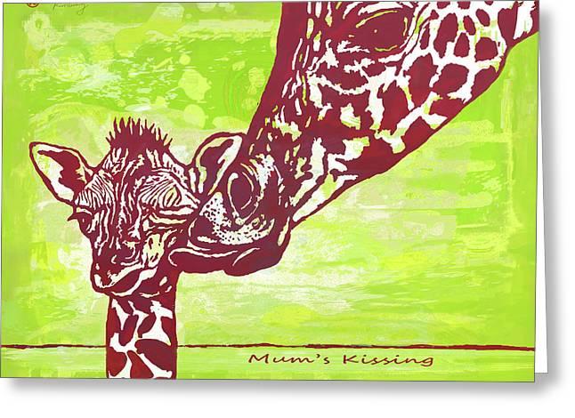 Mum's Kissing - Giraffe Stylised Pop Art Poster Greeting Card by Kim Wang
