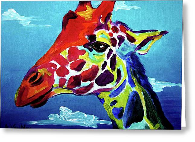Alicia Vannoy Call Paintings Greeting Cards - Giraffe - The Air Up There Greeting Card by Alicia VanNoy Call