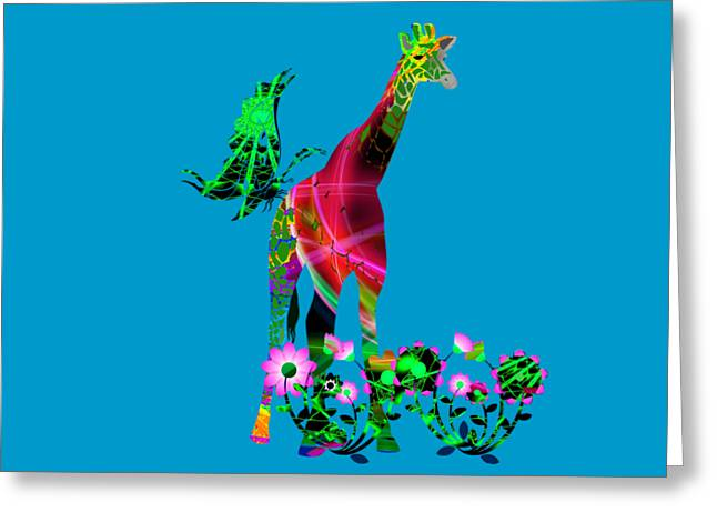 Apparel Greeting Cards - Giraffe and flowers3 Greeting Card by EricaMaxine  Price