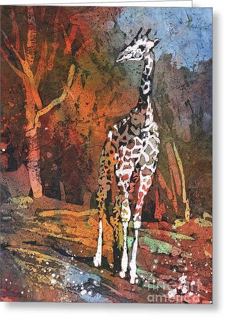 Greeting Card featuring the painting Giraffe Batik II by Ryan Fox