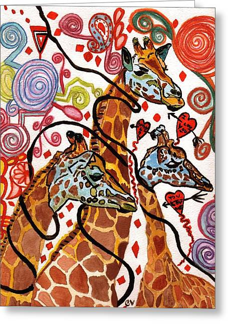 Giraffe Birthday Party Greeting Card by Connie Valasco