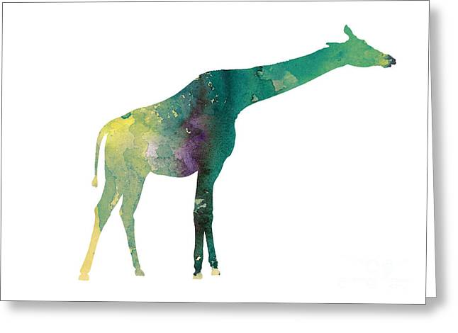 Giraffe Colorful Watercolor Painting Greeting Card