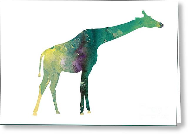 Giraffe Colorful Watercolor Painting Greeting Card by Joanna Szmerdt