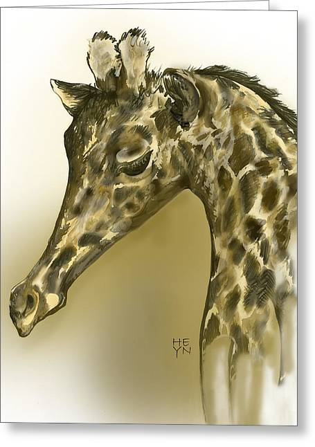 Giraffe Contemplation Greeting Card