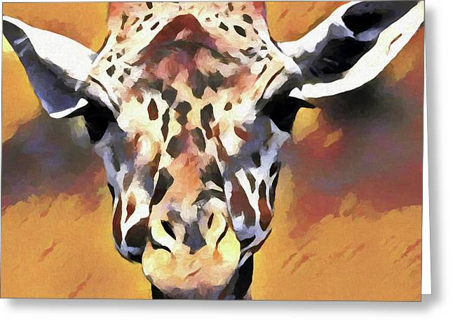 Giraffe Face Greeting Card by Dan Sproul