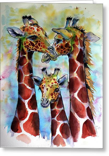 Greeting Card featuring the painting Giraffe Family by Kovacs Anna Brigitta