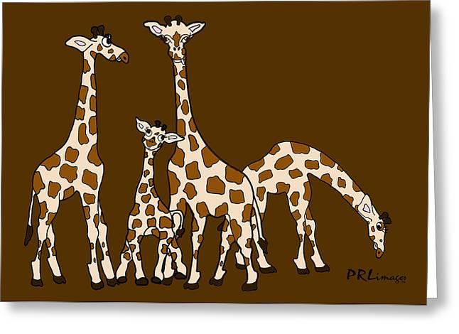 Giraffe Family Portrait Brown Background Greeting Card