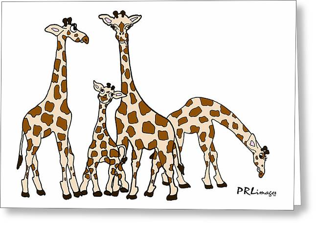Giraffe Family Portrait In Brown And Beige Greeting Card
