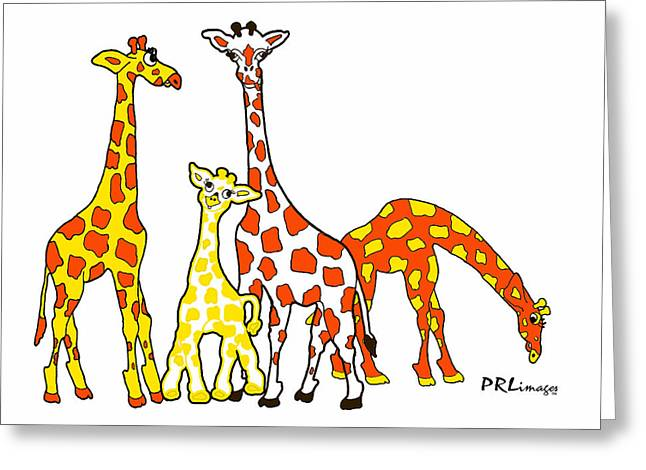 Giraffe Family Portrait In Orange And Yellow Greeting Card