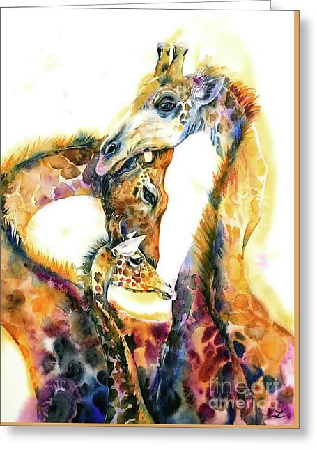 Greeting Card featuring the painting Giraffe Family by Zaira Dzhaubaeva