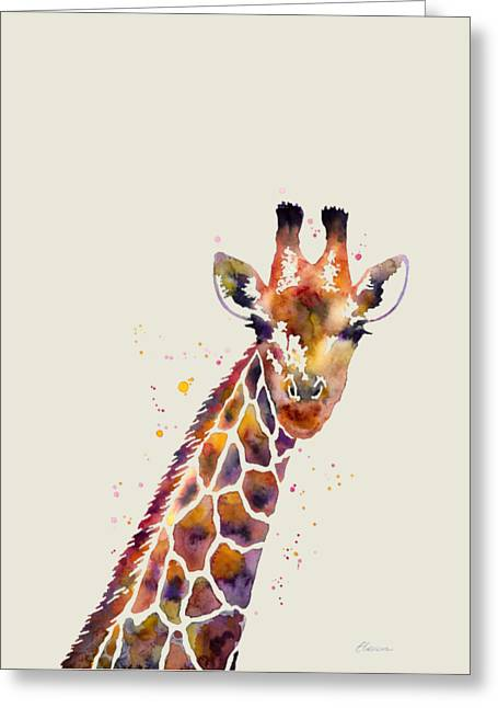 Giraffe Greeting Card by Hailey E Herrera