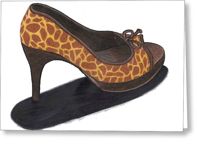 Greeting Card featuring the drawing Giraffe Heels by Jean Haynes