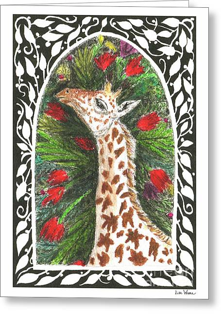 Greeting Card featuring the painting Giraffe In Archway by Lise Winne