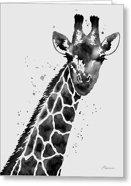 Giraffe In Black And White Greeting Card by Hailey E Herrera
