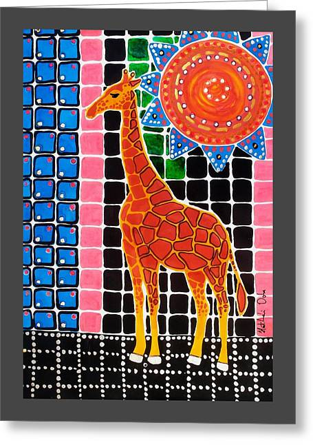 Greeting Card featuring the painting Giraffe In The Bathroom - Art By Dora Hathazi Mendes by Dora Hathazi Mendes