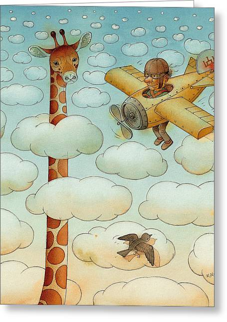 Giraffe Greeting Card by Kestutis Kasparavicius