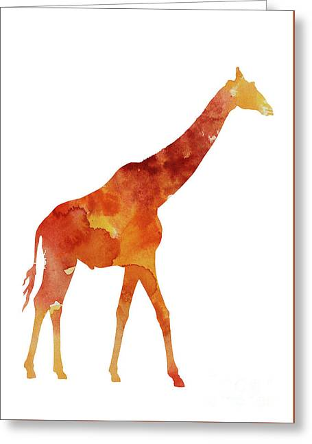 Giraffe Minimalist Painting For Sale Greeting Card by Joanna Szmerdt
