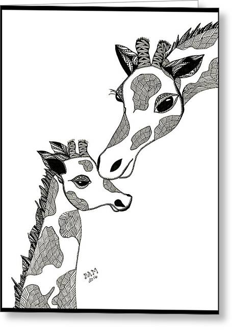 Giraffe Mom And Baby Greeting Card