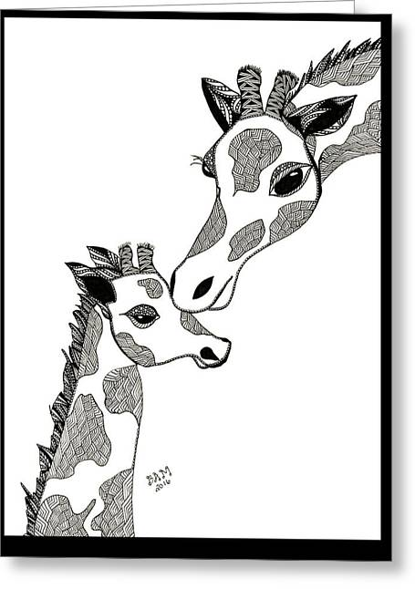 Greeting Card featuring the drawing Giraffe Mom And Baby by Barbara McConoughey